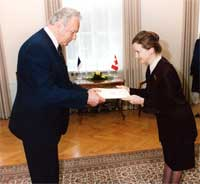 President Arnold Rüütel received Claire A. Poulin, Ambassador of Canada, who presented her Letter of Credentials.